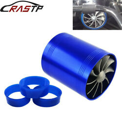 Turbo Charger Double Air Filter Intake Fan Fuel Gas Saver Kit With Logo Blue