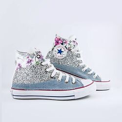 Converse all Star White with Jeans Silver Glitter & Flowered