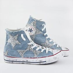 Converse all star White With Jeans And Stars IN Silver Glitter & Sporcatura