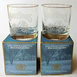 2 New Box 1997 Early Times Kentucky Whiskey Collectorand039s Edition Etched Glasses