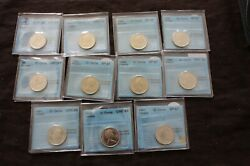 Canada 25 Cents 1970 1971 1973 1985 1988 1991 Certified Cccs