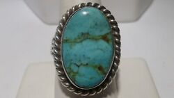 Soux Cherokee Silversmith Charles Johnson Morenci Turquoise Ring Sterling Silver