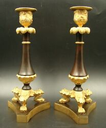 Pair Of Patinated And Gilt Bronze French Empire Table Candlesticks, 19th Century