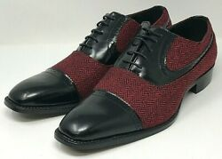 Bolano Thoreau-212 BlackRed Herringbone Oxford Men's Size: 10.5 NEW! Ships Free