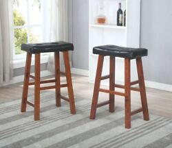 29 Faux Leather Padded Seat Heavy Duty Saddle Bar Stools In Espresso -set Of 2