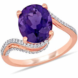 Amour 14k Rose Gold Oval-cut African-amethyst And Diamond Bypass Cocktail Ring