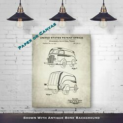 Wisconsin Ice Delivery Truck - Automobile Patent Drawing - Car Poster Art Print