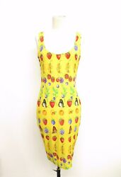 Vintage Gianni Versace Couture Fruit Print Body Con Dress Sz 68