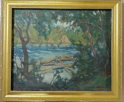 Antique Russian School Landscape Oil On Canvas With Gold Leaf Wood Frame Signed