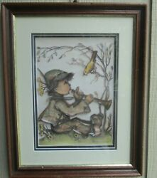 Hummel Original 3-dimensional Picture Boy Playing Flute For Bird Ars Edition