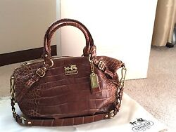 Coach Madison Sophia Satchel - Embossed Croc In The Walnut Toffee Brown Color