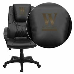 Flash Furniture Wofford College Terrier Embroidered Black Leather Executive Offi