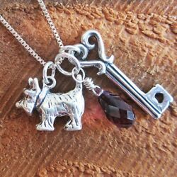 Scottish Terrier Large Key To My Heart Sterling Silver Necklace Dog Charm FRSH