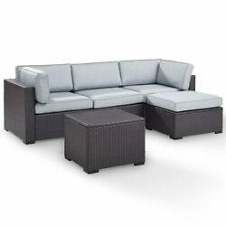 Crosley Biscayne 4 Piece Wicker Patio Sectional Set In Brown And Mist