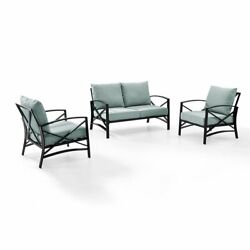 Crosley Kaplan 3 Piece Patio Sofa Set In Oil Rubbed Bronze And Mist