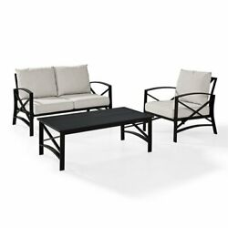 Crosley Kaplan 3 Piece Patio Sofa Set In Oil Rubbed Bronze And Oatmeal