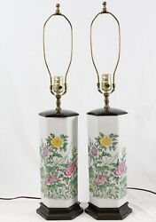 Chinese Painted Porcelain Signed Table Lamps Pair Vintage Floral Famille Rose