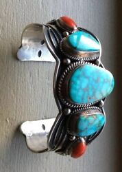 Navajo Sterling Silver Turquoise And Coral Cuff Bracelet D. Cadman