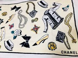 CHANEL icon Print Stole Towel Bag Accessory Wear Design 146cm Rare Mint FS 4M