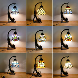 6 Vintage Style Stained Glass Red Dragonfly Cat Table Lamp Light