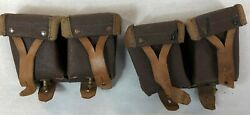 Vintage Leather Russian Military Mosin Nagant Ammo Pouch Brown Tan Lot Of 2