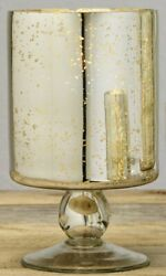 Small Mercury Glass Pedestal Votive Candle and Tealight Holder