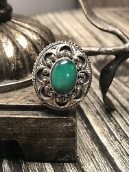 Handmade Sterling Silver Abstract Malachite Poison Ring