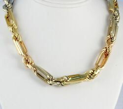 14k Tricolor Gold 4mm Mens Womens Figarope Link Chain Necklace 18-24