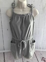 Out From Under For Urban Outfitters Small Gray Kyra Terry Romper Tied Straps New $24.99