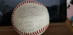 Rare Roger Maris & 61st Home Run Inscriptions with Year Signed Baseball wproof