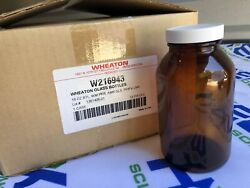 Wheaton Wide Mouth Packer Glass Bottles 16 Oz, Amber, With Lid   New Case Of 12