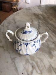 J And G Meakin England Classic White Blue Nordic Sugar Bowl Fine China 1950and039s