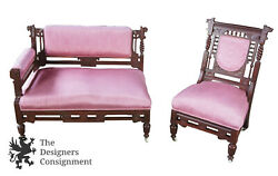 Antique Eastlake Aesthetic German Walnut Figural Bustle Bench And Chair Settee