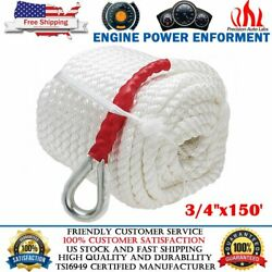 3/4x150and039 Twisted Triple Strand Boat Nylon Anchor Mooring Rope Line String Cord