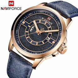 New Naviforce Men Sports Watches 3atm Waterproof Male Top Brand Luxury Leather