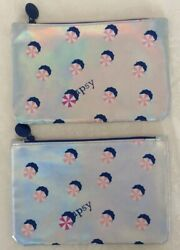 Two IPSY Cosmetic Purse Bags Iridescent Silver Vinyl With Umbrella Design NEW $3.50