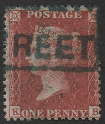 SG29 1855 1d. Red-brown plate 43 KB. Die II. Queen Street Scots Local. E1395
