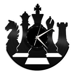 Chess Game Vinyl Wall Clock Unique Gift for Friends Home Living Room Decoration