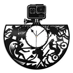 GoPro Vinyl Wall Clock Record Unique Design Home and Kids Room Decoration