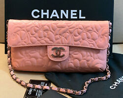 NEW CHANEL Special Edition Leather Logo Embossed Shoulder Bag AUTHENTIC