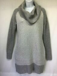 Candies Womenand039s Sweater Gray White Cowl Neck Long Sleeve Med Knit Size L