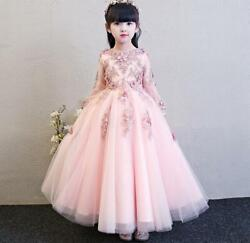 Flower Girl Dress For Kid Princess Dress Lace Birthday Show Costume Wedding Gown