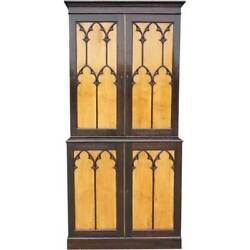 Antique English Gothic Revival Oak And Satinwood Stepback Cabinet 19th Century