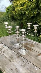 A Beautiful Pair Of Vintage Silver On Copper 3 Sconce Candlesticks