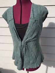 Anthropologie Moth - Green - Bow Design- Front Hook - Sleeveless Sweater Vest