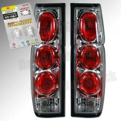 86-97 For Nissan Pick Up Clear Lens Chrome Tail Lights White License Plate Bulbs