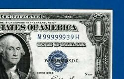 Fr.1614 1 1935 E Silver Certificate Sn N 99999939 H Almost Solid Two Digit