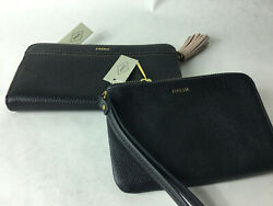 Fossil Leather Clutch Zippered Wallet Wristlet Lot of 2 Total MSRP $130