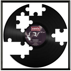 Puzzle Clock Vinyl Wall Art Record Unique Gift for Room Home Decoration Framed