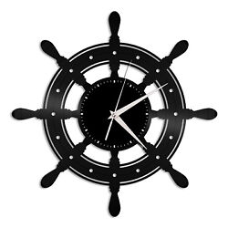 Boat Yacht Wheel Vinyl Wall Clock Record Unique Design Home and Room Decoration